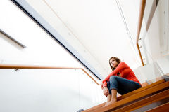 Sitting On Stairs Stock Image