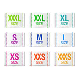Size clothing labels Royalty Free Stock Images