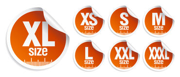 Size clothing stickers Stock Images