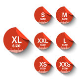 Size  labels Stock Images