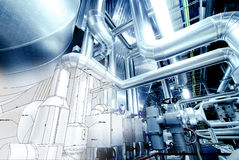 Sketch of piping design mixed with industrial equipment photos Royalty Free Stock Photography