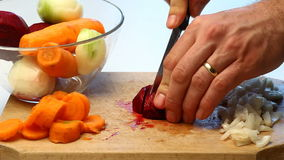 Slicing beetroot video stock video
