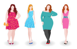 Slim and fat fashion women Royalty Free Stock Photo