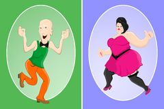 Slim Man and Fat Woman Royalty Free Stock Image