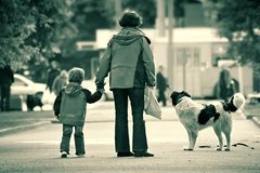 Small family in the big city Royalty Free Stock Image