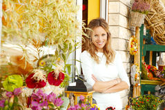 Small flower shop owner Royalty Free Stock Image