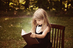 Smart Child Reading Education Book Outside Stock Image