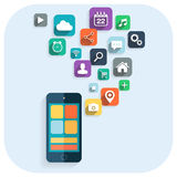 Smart phone apps info graphics. Icons for website. Royalty Free Stock Images