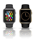 Smart watch  silver and gold color. Royalty Free Stock Photos