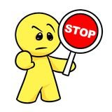 Smiley character Attention stop sign Stock Photography
