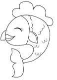 Smiling fish coloring page Royalty Free Stock Photos
