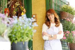 Smiling Woman Florist, Small Business Flower Shop Owner Stock Photos