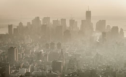 Smog over Manhattan, New York. Royalty Free Stock Photos