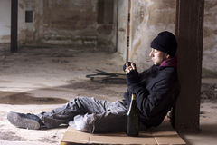 Smoking Alcoholic Royalty Free Stock Photography