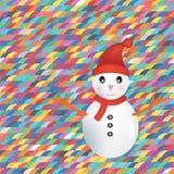 Snögubbe på färgrik bakgrund Arkivfoto
