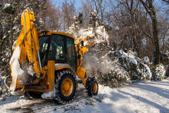 Snow removal vehicle cleaning Stock Photo