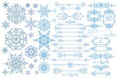 Snowflake,Border,frame set.Winter doodles decor Royalty Free Stock Image