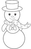 Snowman coloring page Royalty Free Stock Images