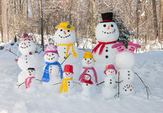 Snowman family Stock Photography