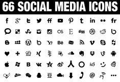 66 Social Media Icons black Stock Photography