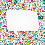 Social media icons white speech bubble shape EPS10 Stock Photo