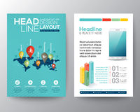 Social network concept Brochure Flyer design Layout template Royalty Free Stock Images