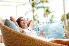 Sofa Woman relaxing enjoying luxury lifestyle Stock Images