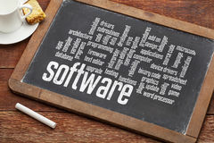 Software word cloud on blackboard Stock Images