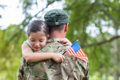 Soldier reunited with his daughter Stock Image