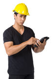 Solemn young foreman Stock Images