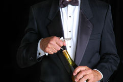 Sommelier Opening Bottle of Wine Royalty Free Stock Photos