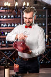 Sommelier in the wine cellar Royalty Free Stock Photography