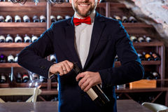 Sommelier in the wine cellar Royalty Free Stock Photo