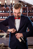 Sommelier in the wine cellar Stock Image