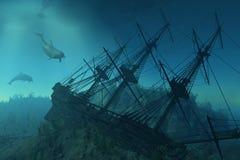 sous le naufrage de mer Images libres de droits