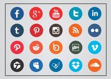 Sozialtechnologie- und Medienikonensatz gerundet Lizenzfreie Stockfotos
