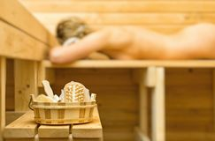 Spa accessories in sauna. Stock Photography