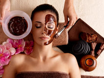 Spa therapy for woman receiving cosmetic mask Stock Photography