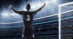 Spaanse Voetballer die een Doel vieren Royalty-vrije Stock Fotografie