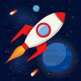 Space Rocket Flying in the Outer Space Royalty Free Stock Photography