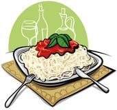 Spaghetti noodles with tomato sauce Stock Photos