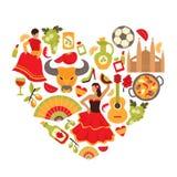 Spain heart print Royalty Free Stock Photos