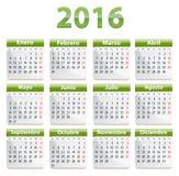 2016 Spanish calendar Royalty Free Stock Photography
