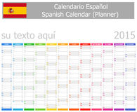 2015 Spanish Planner Calendar with Vertical Months Royalty Free Stock Photos