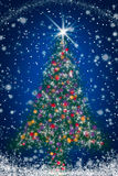 Sparkly Christmas Tree on Blue Starry Night Sky Royalty Free Stock Photography