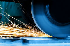 Sparks from grinding machine. Industrial, industry Royalty Free Stock Image