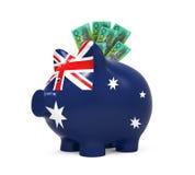 Sparschwein mit australischem Dollar Lizenzfreies Stockfoto