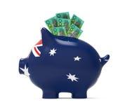 Sparschwein mit australischem Dollar Stockbilder