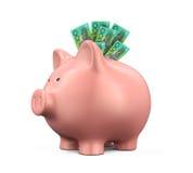 Sparschwein mit australischem Dollar Stockfotos