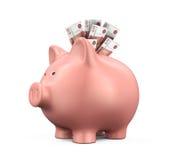 Sparschwein mit russischem Rubel Lizenzfreies Stockbild